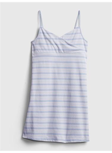 Gap Desenli Askılı Elbise Pembe